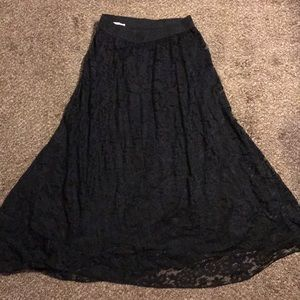Long black Lacey skirt
